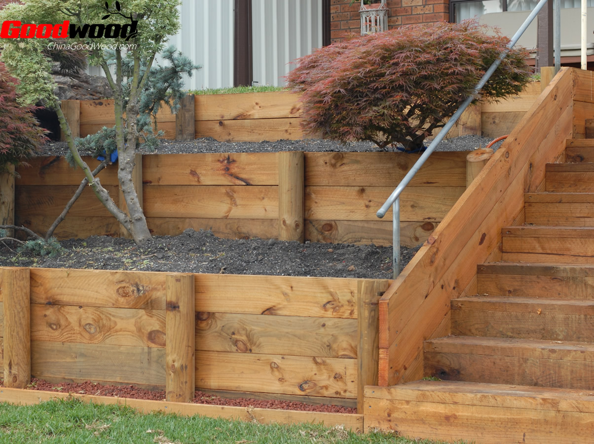 Treated pine retaining wall