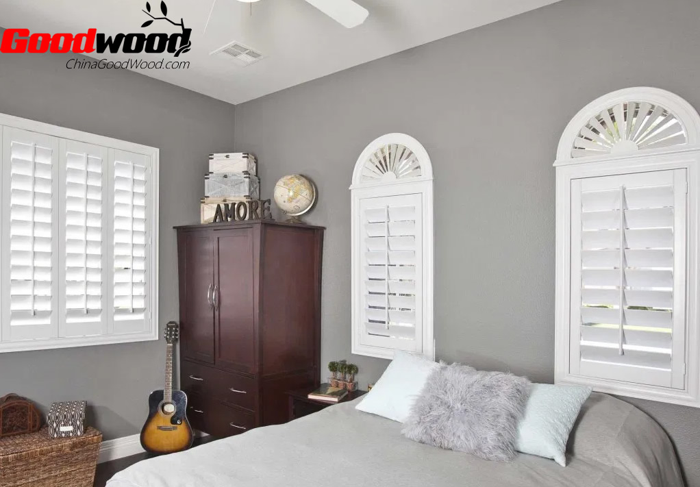 bedrooms with white plantation shutters