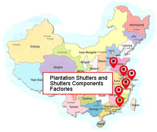 China Plantation Shutters and Shutters Components Factories