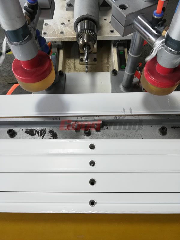 Hole drilling in stile for tension screw