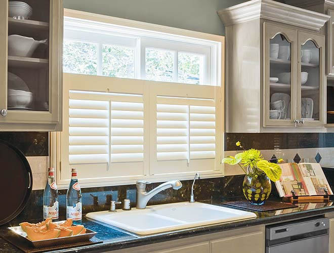 kitchen window shutters cafe style