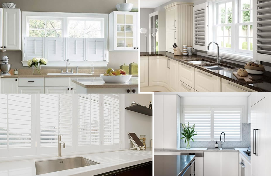 plantation shutters kitchen window