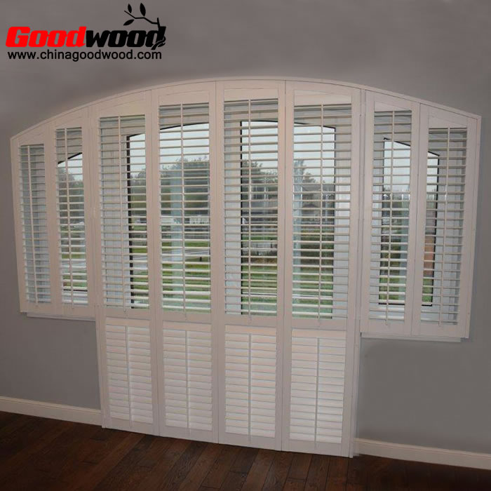 arched bifold doors wooden plantation shutters