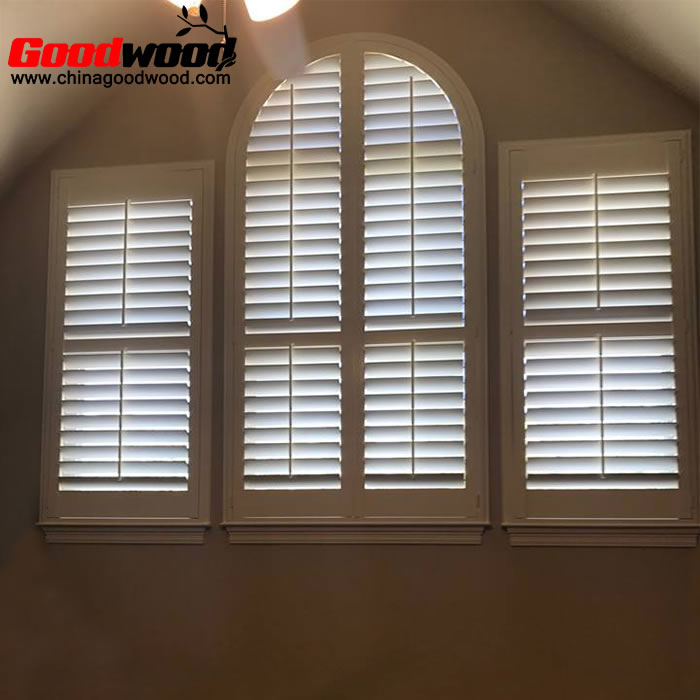 custom arched wood window shutters