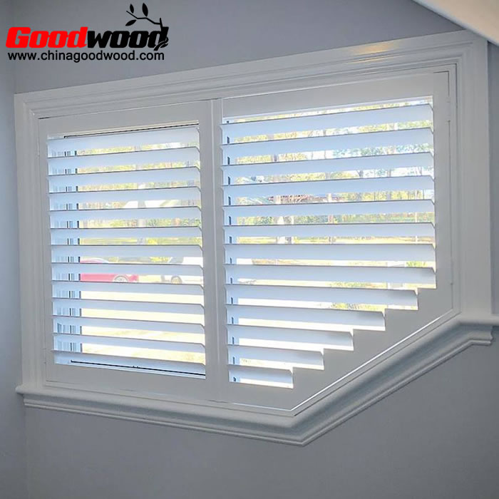 shaped window shutters for angled windows