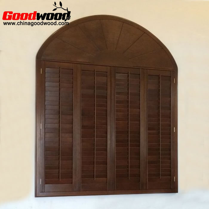 curved wooden plantation shutters